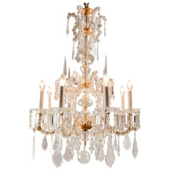 Lobmeyr Historism Six-Arm Crystal Wrought Iron Chandelier with Feaf-Gilded Frame