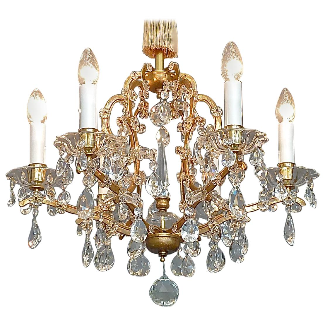 Lobmeyr Maria Theresia Style Chandelier 1950s Gilt Brass Faceted Crystal Glass