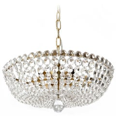 Lobmeyr Pendant Light Chandelier No. 6276 B, Brass Crystal Glass, Austria, 1960s