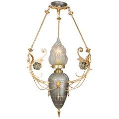 Lobmeyr-Restored Empire-Style Eternal Flame Pendant Lamp