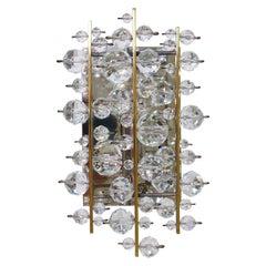 Lobmeyr Vienna Midcentury Finger Sconces Wall Lights Brass Nickel Crystal, 1960s