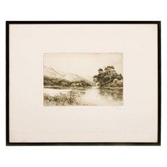 Loch Katrine Etching by Jackson Simpson, 20th Century