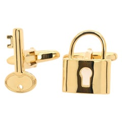 Lock and Key Men's Cuff Link in Silver