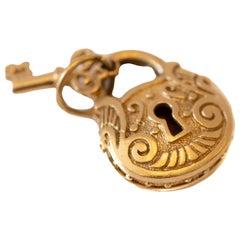 Lock and Key Vintage Charm 14 Karat Yellow Gold