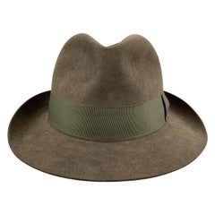 LOCK & CO HATTERS Olive Green Fur Felt Thick Grosgrain Trim Fedora