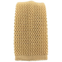LOCK & CO LONDON Golden Beige Silk Textured Knit Tie