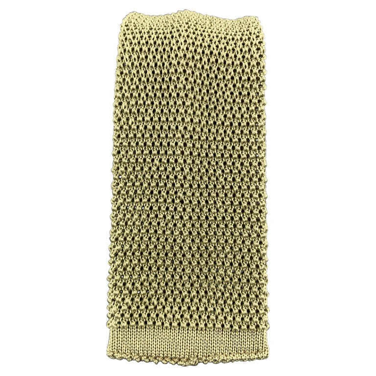 LOCK & CO LONDON Moss Green Silk Textured Knit Tie For Sale