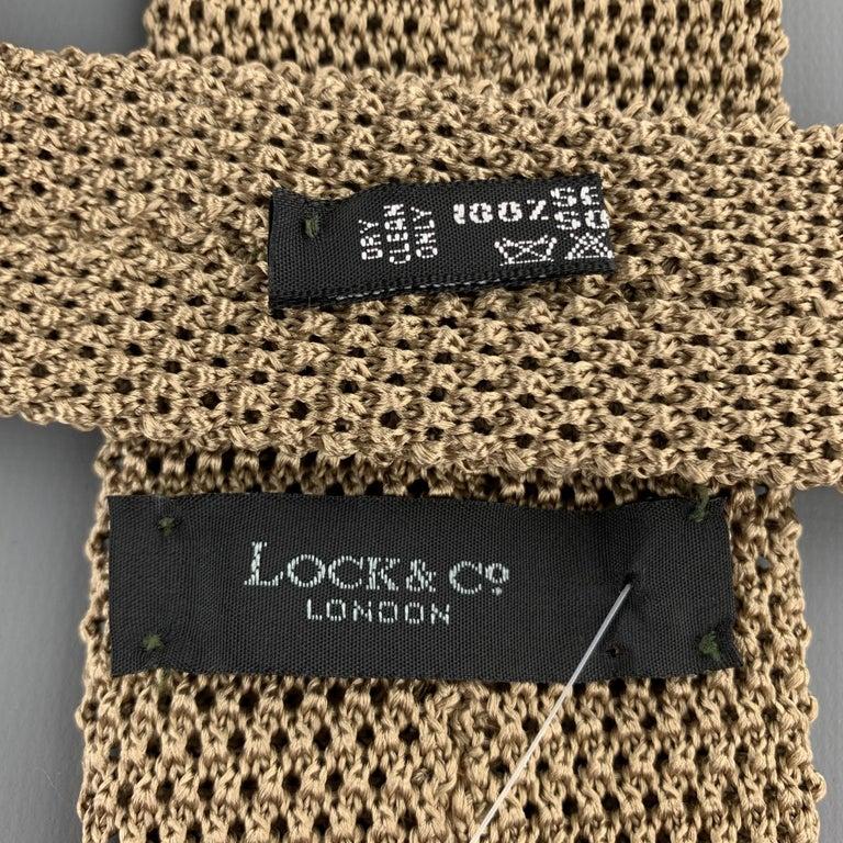 Men's LOCK & CO LONDON Taupe Beige Silk Textured Knit Tie For Sale