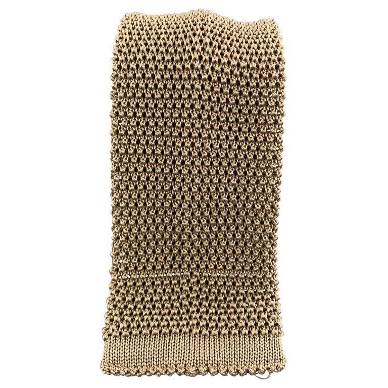 LOCK & CO LONDON Taupe Beige Silk Textured Knit Tie For Sale
