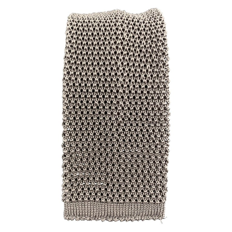 LOCK & CO LONDON Taupe Gray Silk Textured Knit Tie For Sale