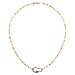 Lock Necklace in 14K Rose Gold with Black Diamond