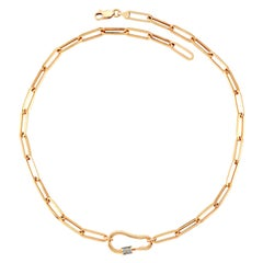 Lock Necklace in Rose Gold with White Diamond
