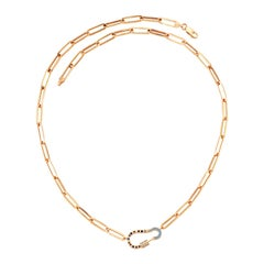Lock Necklace in Rose Gold with White Diamond & Sapphire