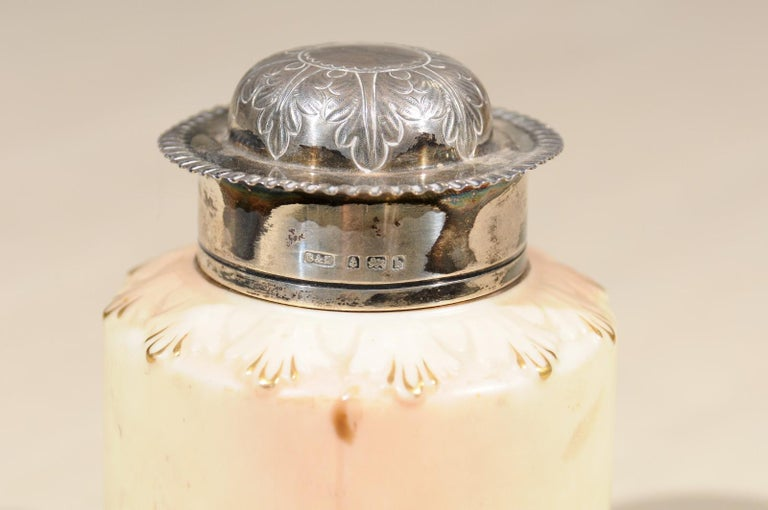 20th Century Locke & Co Worcester Porcelain Toiletry Jar with Silver Top, Turn of the Century For Sale