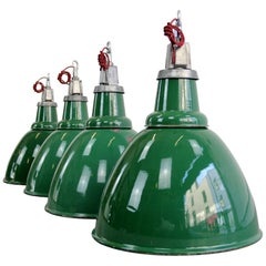Locomotive Factory Industrial Pendant Lights by Thorlux, circa 1930s