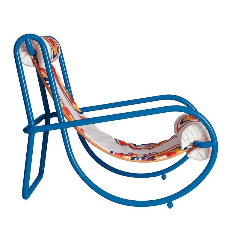Italian Locus Solus Blue Armchair by Gae Aulenti For Sale