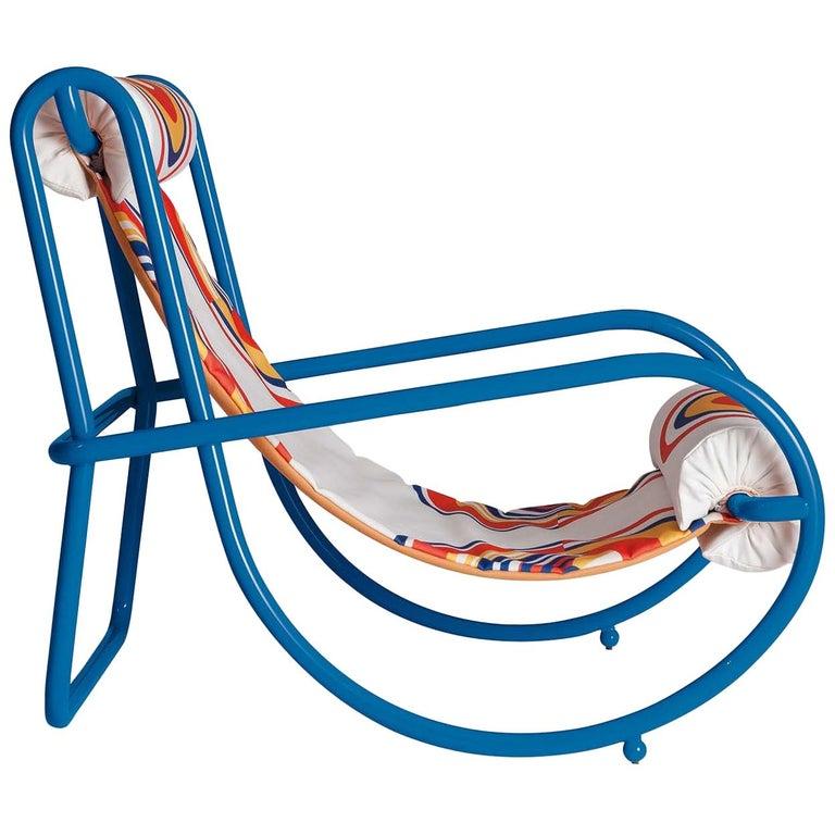 Locus Solus Blue Armchair by Gae Aulenti For Sale