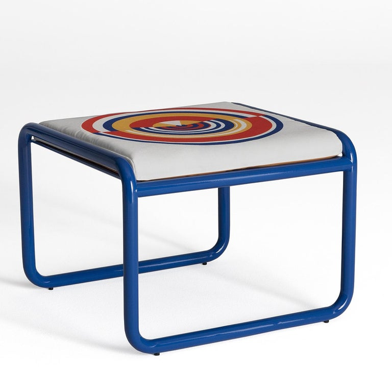 Hand-Crafted Locus Solus Blue Pouf by Gae Aulenti For Sale