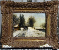 Louis Apol Dutch Hague School Winter Landscape Oil Painting