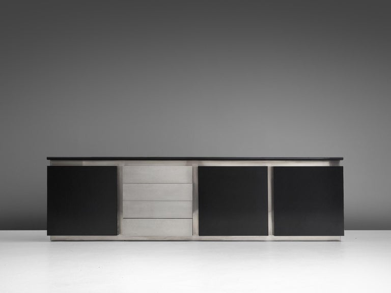 Late 20th Century Lodovico Acerbis Sideboard in Stained Oak and Aluminium