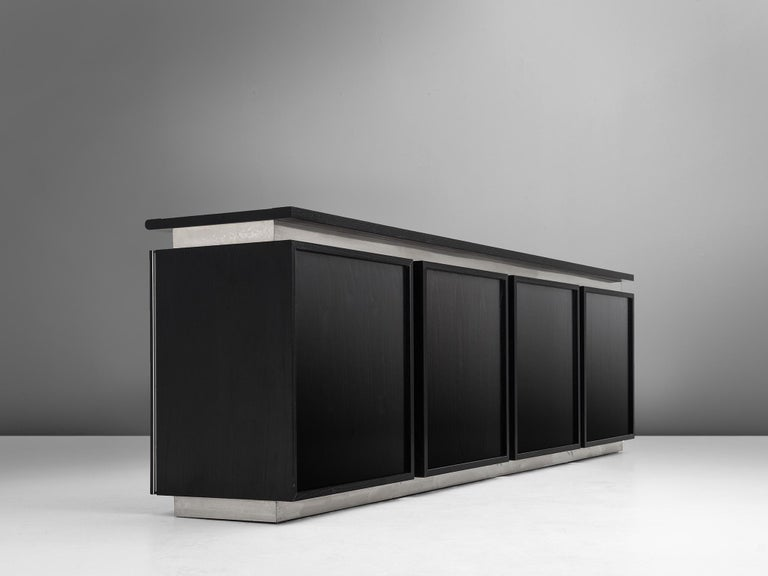 Steel Lodovico Acerbis Sideboard in Stained Oak and Aluminium