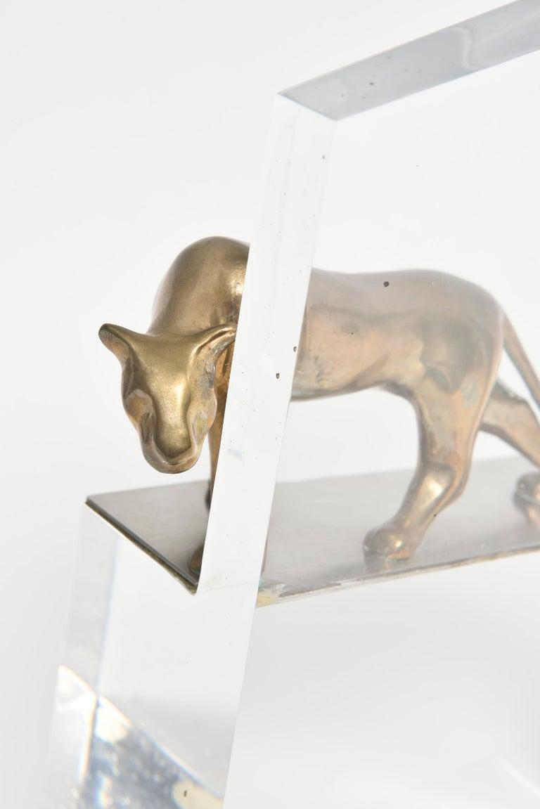 20th Century Loet Vanderveen Bronze Panther on Acrylic Block For Sale
