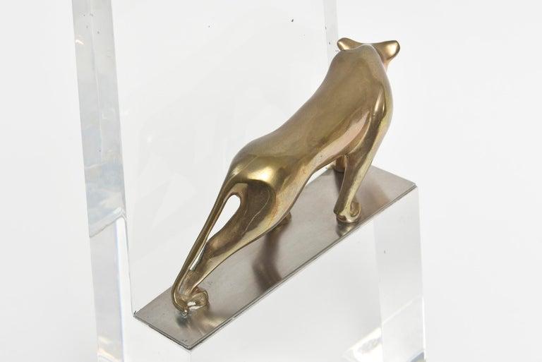 Loet Vanderveen Bronze Panther on Acrylic Block For Sale 2
