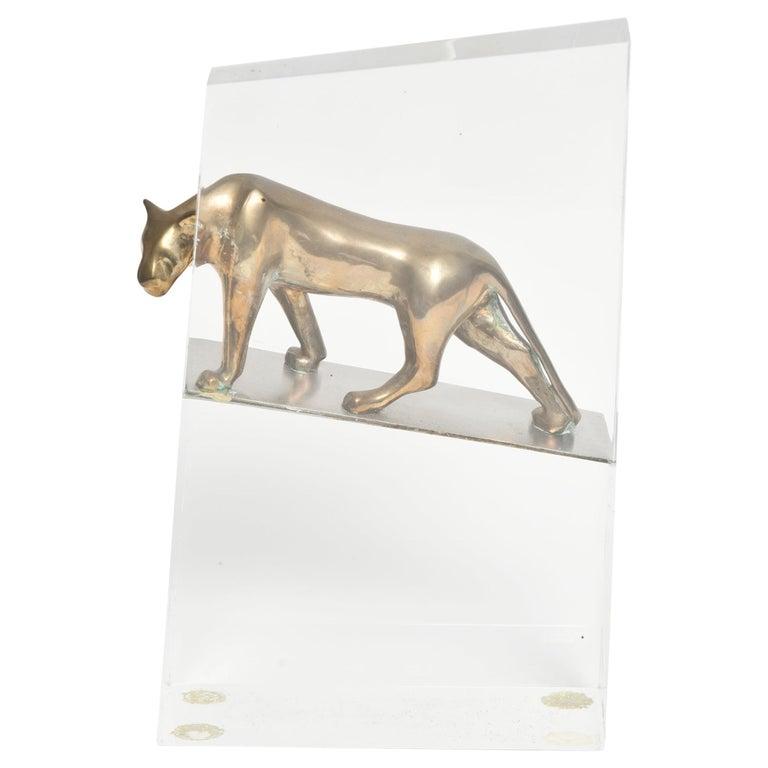 Loet Vanderveen Bronze Panther on Acrylic Block For Sale
