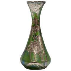 Loetz Alvin Silver Overlay Glass Vase, circa 1900