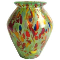 Loetz Bohemian Art Deco Green Speckled Ausführung 237 Glass Vase