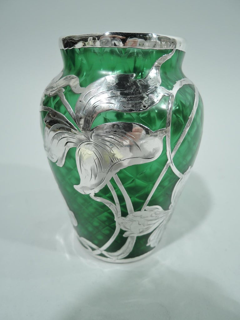 Austrian Loetz Art Nouveau Green Quilted Vase with Silver Overlay by La Pierre