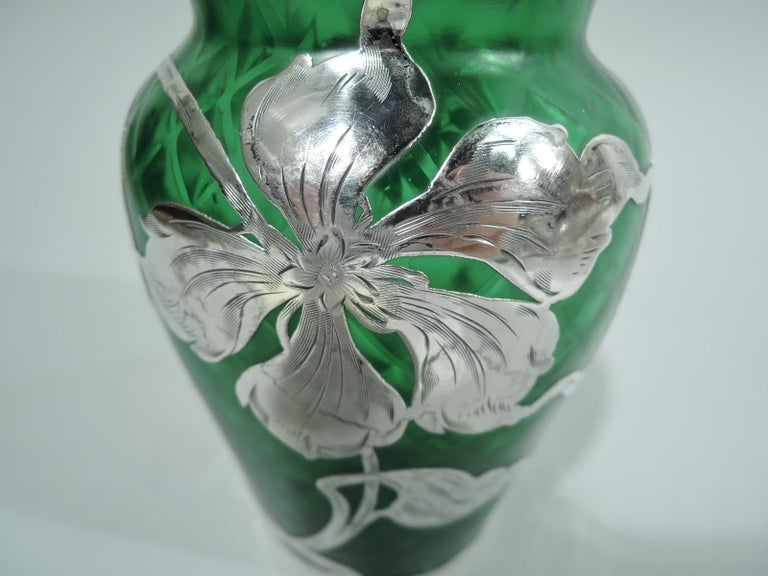 20th Century Loetz Art Nouveau Green Quilted Vase with Silver Overlay by La Pierre