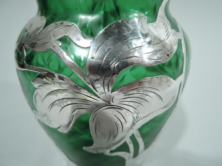Loetz Art Nouveau Green Quilted Vase with Silver Overlay by La Pierre 1