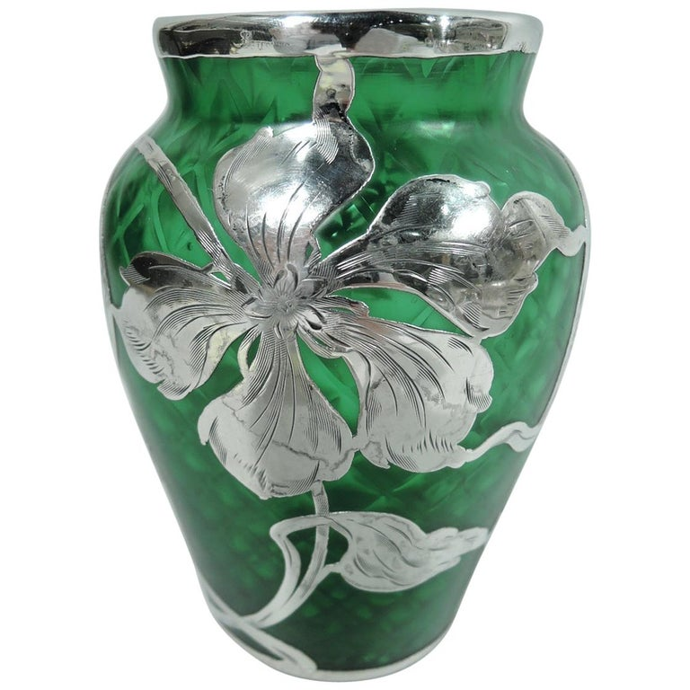 Loetz Art Nouveau Green Quilted Vase with Silver Overlay by La Pierre