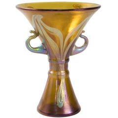 Loetz Art Nouveau Iridescent Amber Favrile Glass Vase