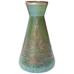 Loetz Art Nouveau/Secessionist Crete Papillon Silvered Vase