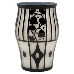 Loetz Art Nouveau Vase Opal with Black Etched Decor, J. Hoffmann, Austria, 1912