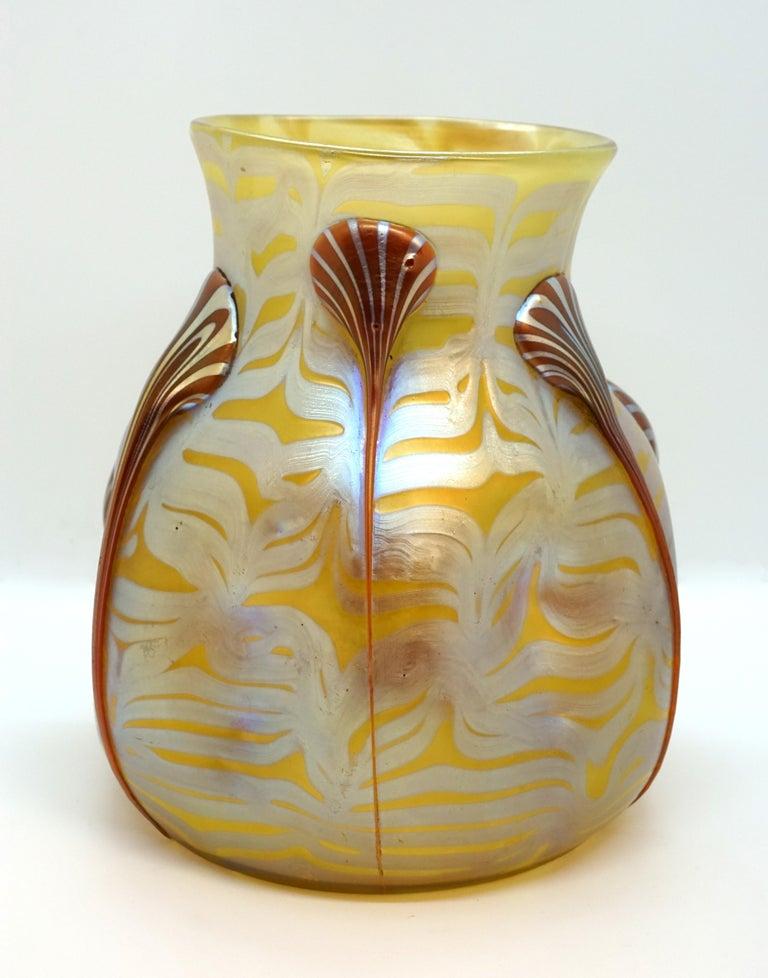 Austrian Loetz Art Nouveau Vase Phenomenon Genre 1/4 with Drop-Applications, 1900 For Sale