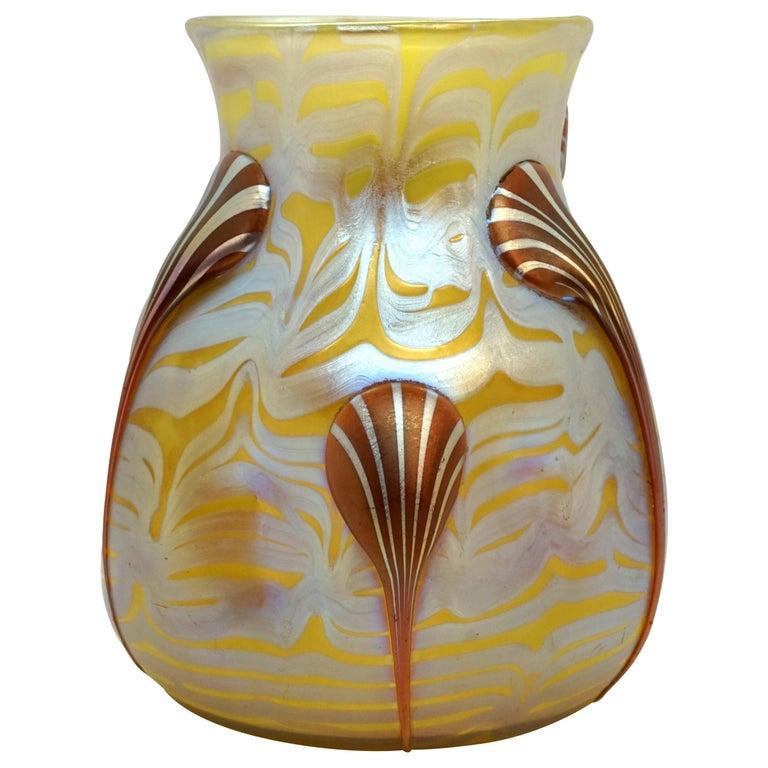 Loetz Art Nouveau Vase Phenomenon Genre 1/4 with Drop-Applications, 1900 For Sale
