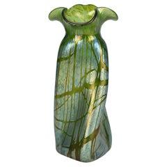Loetz Austrian Art Nouveau Large Papillon Iridescent Propeller Shape Glass Vase