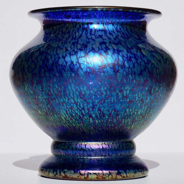 Austrian Loetz Cobalt Papillon Art Nouveau Vase For Sale