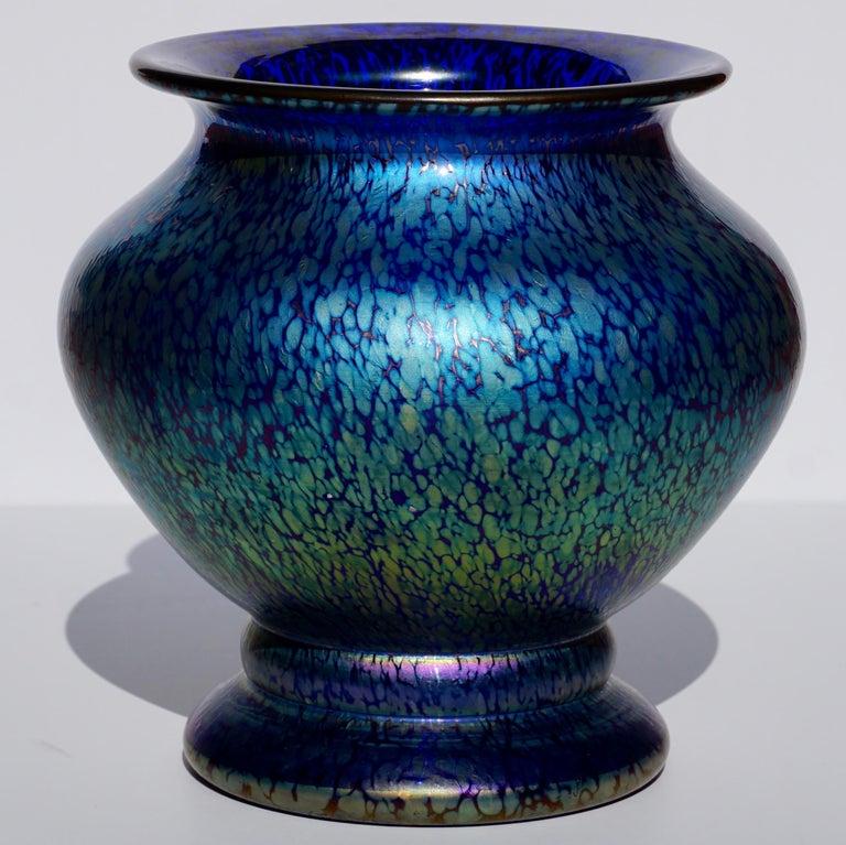 Loetz Cobalt Papillon Art Nouveau Vase In Excellent Condition For Sale In Dallas, TX
