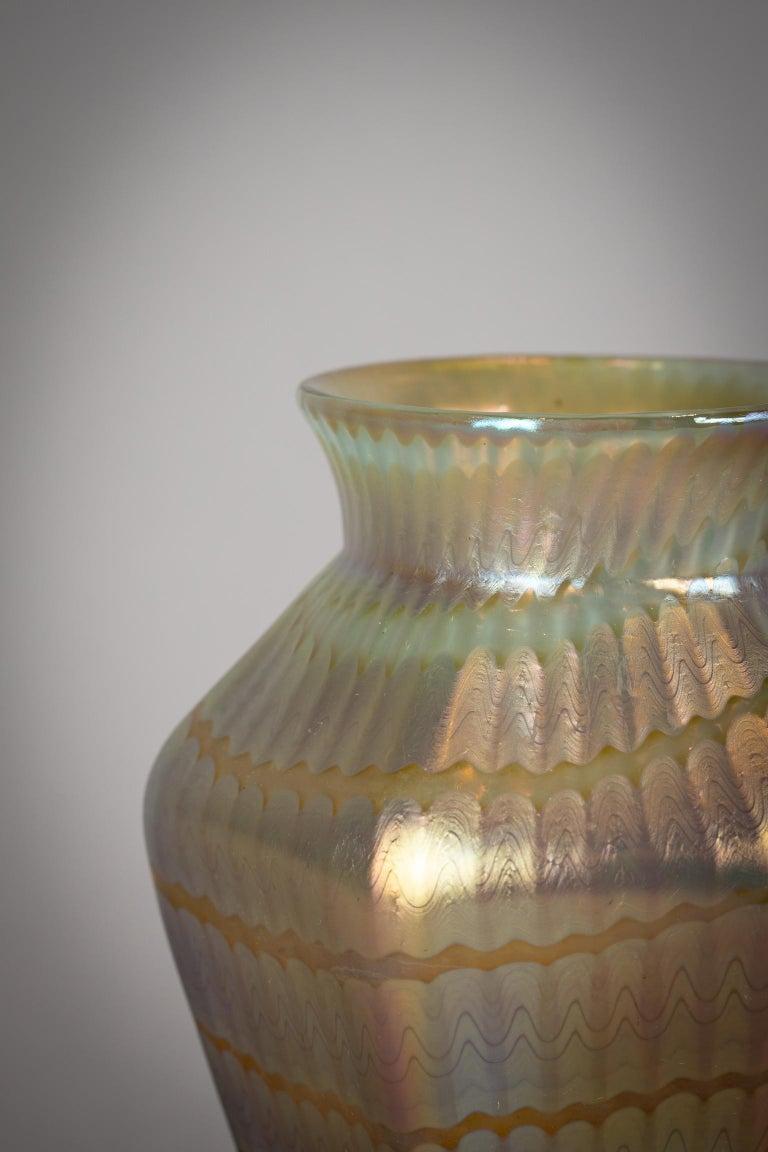 Austrian Loetz Hexagonal Glass Vase, circa 1900 For Sale