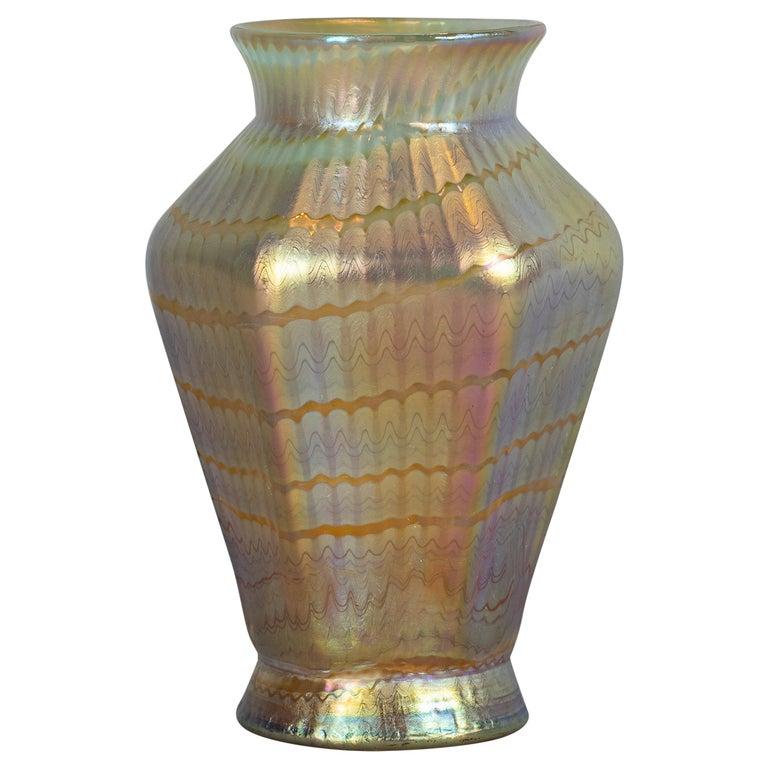 Loetz Hexagonal Glass Vase, circa 1900 For Sale