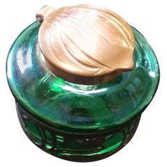 Loetz Inkwell Iridescent Green Art Glass with Copper Top