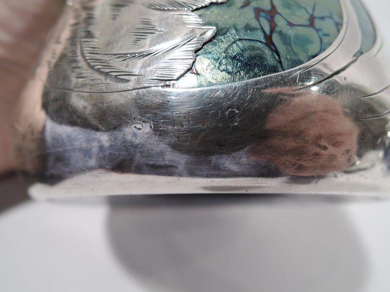 Loetz Iridescent Glass & Silver Overlay Vase with Dramatic Blooms 4