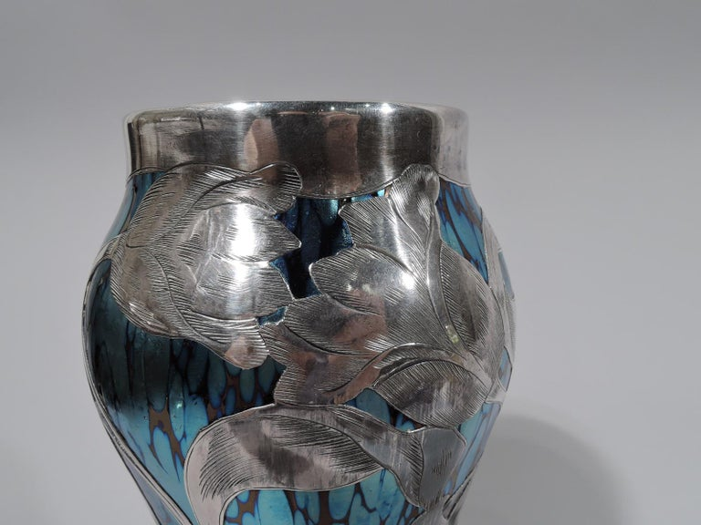 Loetz Iridescent Glass & Silver Overlay Vase with Dramatic Blooms In Excellent Condition In New York, NY
