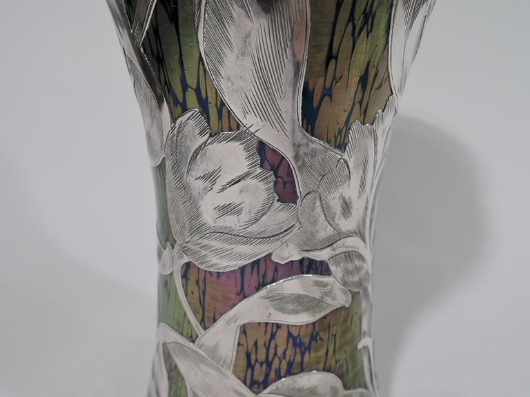 Loetz Iridescent Glass & Silver Overlay Vase with Dramatic Blooms 1