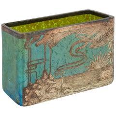 Loetz Papillon Silver-Overlay Blue Cigarettes Vase, circa 1900