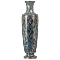 Loetz Silver Overlay Glass Vase, circa 1910